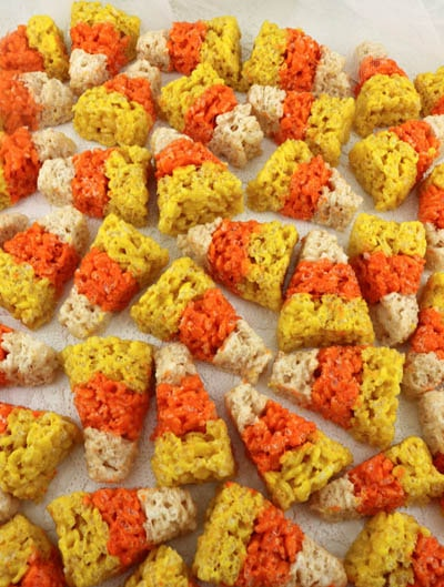 Fun Halloween Snack Ideas and Halloween Treats: Candy Corn Mini Rice Krispie Treats