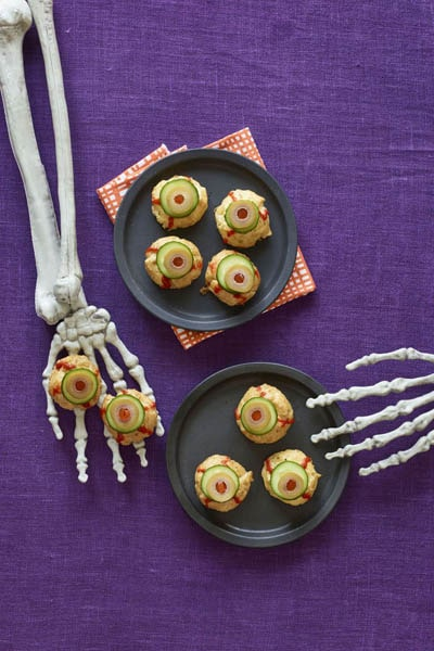 Fun Halloween Snack Ideas and Halloween Treats: Cheesy Pastry Puff Eyeballs