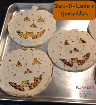 Fun Halloween Snack Ideas and Halloween Treats: Jack-O-Lantern Quesadillas