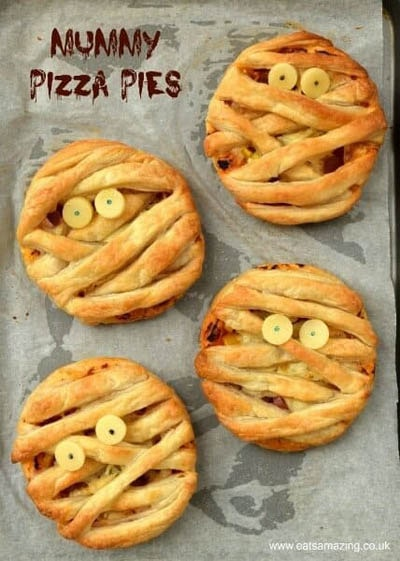 Fun Halloween Snack Ideas and Halloween Treats: Mummy Puff Pastry Pizza Pies