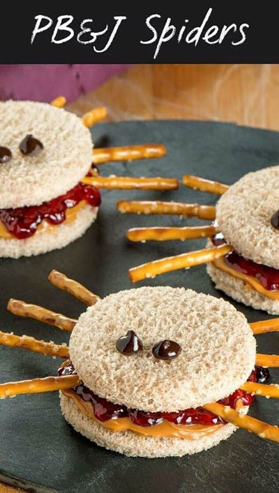 Fun Halloween Snack Ideas and Halloween Treats: Peanut Butter Jelly Spider Sandwiches