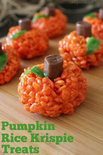 Fun Halloween Snack Ideas and Halloween Treats: Pumpkin Rice Krispie Treats Recipe