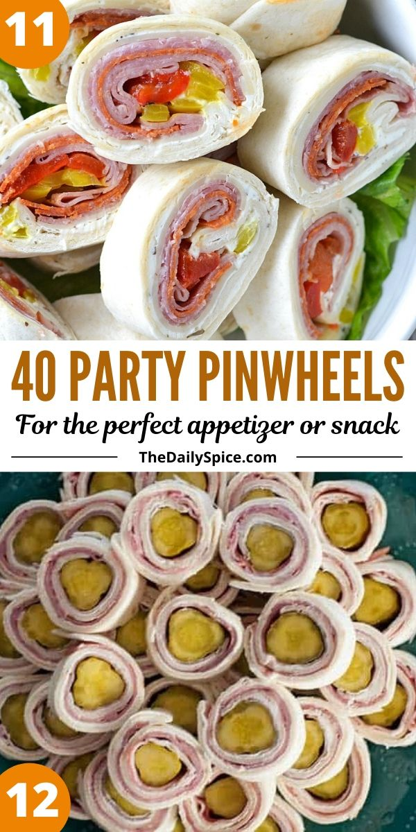 Party pinwheels and roll-ups