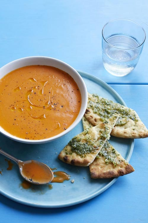 Meatless meal recipes: Spiced Tomato Soup with Flatbread