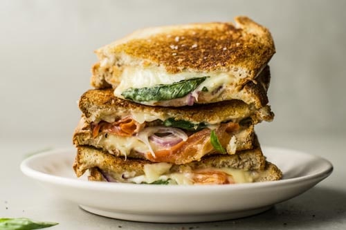 Meatless meal recipes: Tomato, Mozzarella, and Basil Panini