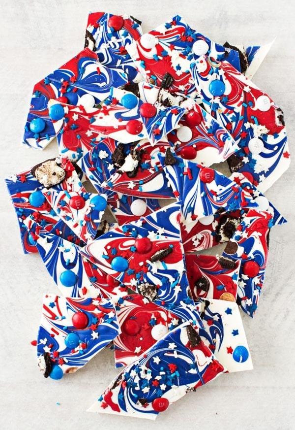 4th Of July Desserts: Festive Red White & Blue Bark